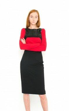 Платье миди с кожаными вставками