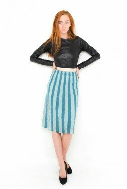 Вязаная полосатая юбка